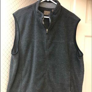 Men's Gray Vest Zip Closure 2 Zip Pockets Fleece